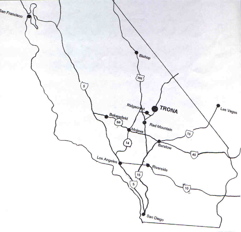 Road Map to Trona California Off Road Maps on